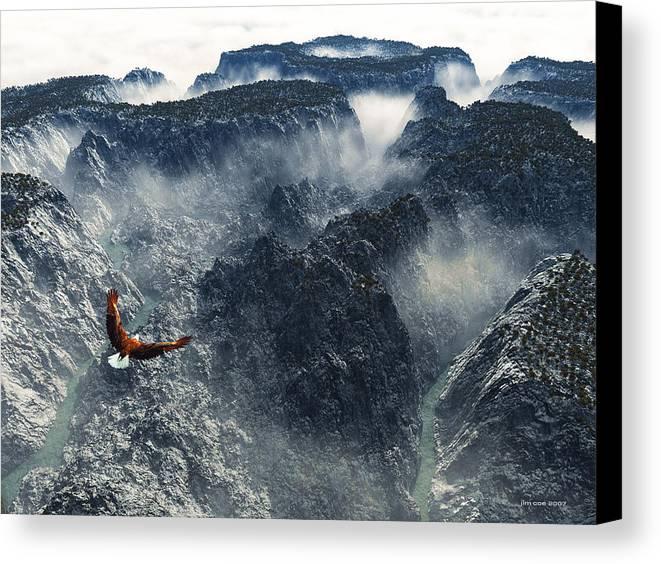 Jim Coe Canvas Print featuring the digital art Cloud Canyon by Jim Coe
