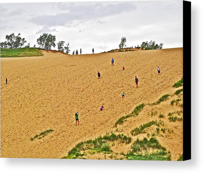 Dune Climb In Sleeping Bear Dunes National Lakeshore Canvas Print featuring the photograph Dune Climb In Sleeping Bear Dunes National Lakeshore-michigan by Ruth Hager
