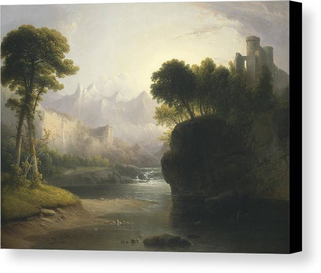 Art Canvas Print featuring the painting Fanciful Landscape by Thomas Doughty