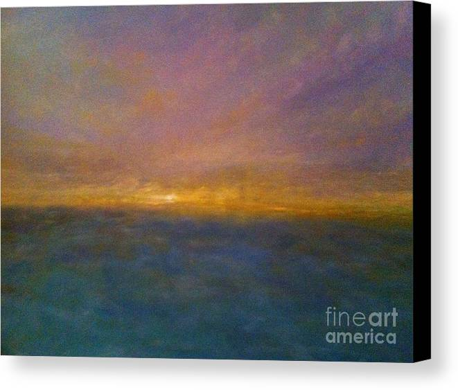Seascape Canvas Print featuring the painting Mayflower Beach Sunset by Kenneth Robinson