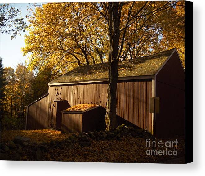 Barn Canvas Print featuring the photograph Red Barn At Dawn by Joshua Francia