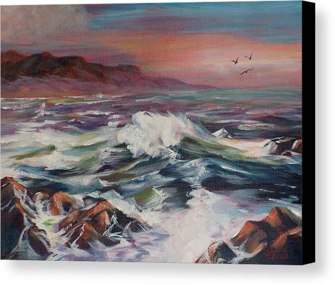 Seascape Canvas Print featuring the painting Seascape 02 by Sylvia Stone