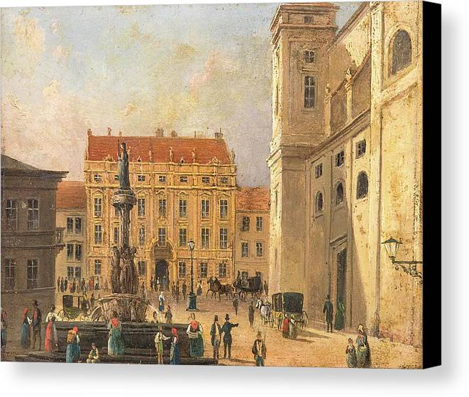 The Austria Fountain On The Freyung In Vienna With Rich Figural Canvas Print featuring the painting The Austria Fountain On The Freyung In Vienna With Rich Figural by MotionAge Designs