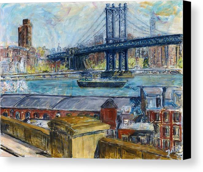 New York Manhattan Bridge Water River Boat Warehouses Canvas Print featuring the painting View From Brooklyn Bridge by Joan De Bot