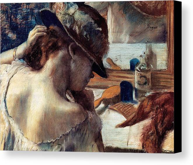 Edgar Degas Canvas Print featuring the painting In Front Of The Mirror by Edgar Degas