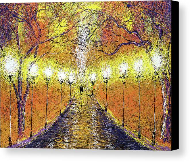 World Of Lights Canvas Print featuring the painting World Of Lights by Artist SinGh -