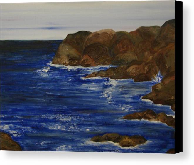 Seascape Canvas Print featuring the painting A Rocky Coast by Shiana Canatella