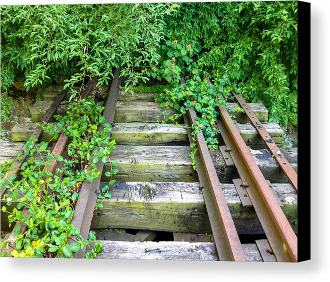 Canvas Print featuring the photograph Abandoned Rail Road Tracks by Matt Stover
