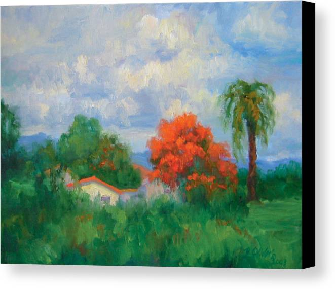 Honduras Canvas Print featuring the painting Acacias And Red Roofs by Bunny Oliver