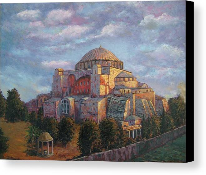 Church Canvas Print featuring the painting Agia Sofia by Charalampos Laskaris
