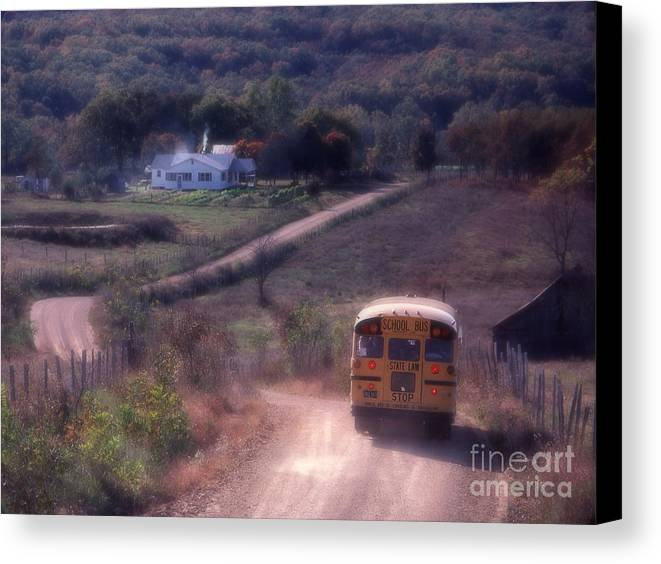Rural School Bus Canvas Print featuring the photograph Almost Home by Garry McMichael