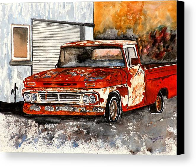 Transportation Canvas Print featuring the painting Antique Old Truck Painting by Derek Mccrea