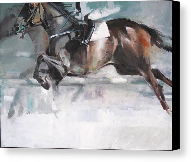 Horse Canvas Print featuring the painting At The Races by Tony Belobrajdic