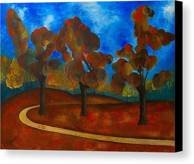 Landscape Canvas Print featuring the painting Autumn by Vladimir Kezerashvili
