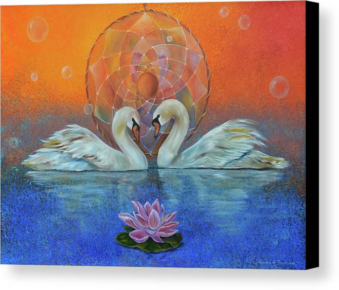 Swans Canvas Print featuring the painting Awakening To The Beauty Within by Sundara Fawn
