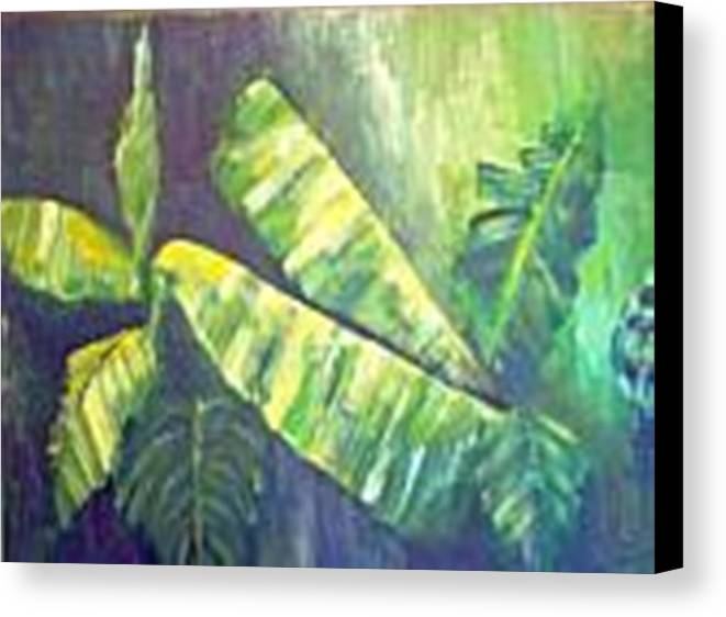 Banana Leaf Canvas Print featuring the painting Banan Leaf by Carol P Kingsley