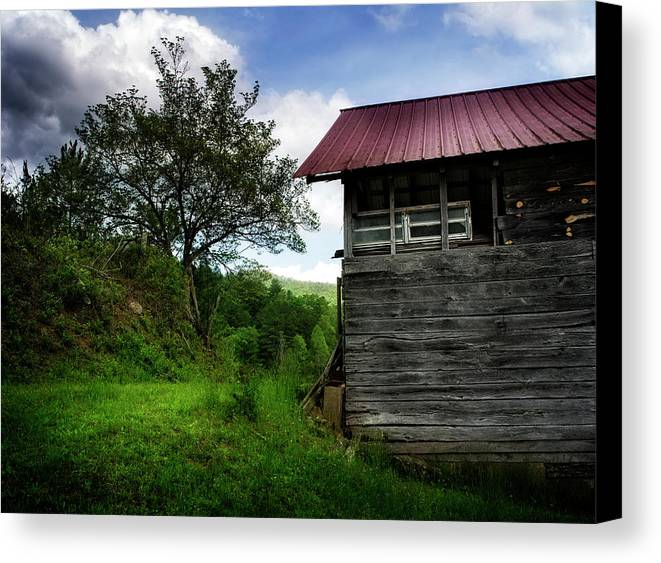 Barn Canvas Print featuring the photograph Barn After Rain by Greg Mimbs
