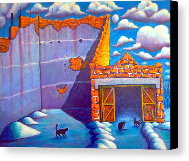 Historic Canvas Print featuring the painting Basque Ball Court by Steve Lawton