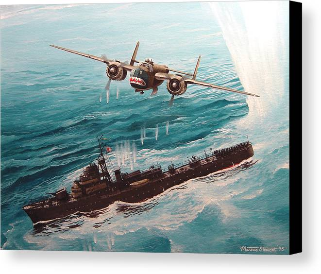 Military Canvas Print featuring the painting Bat Outta Hell by Marc Stewart