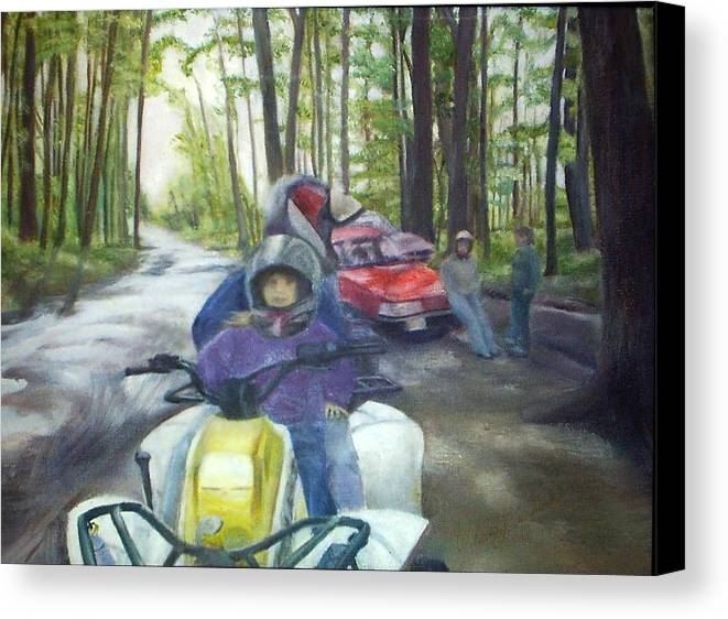 Quad Canvas Print featuring the painting Be Right Back by Sheila Mashaw