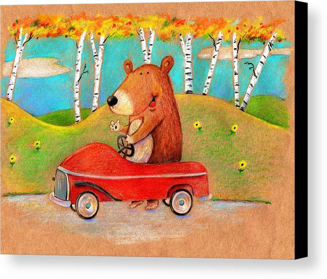 Bear Canvas Print featuring the drawing Bear Out For A Drive by Scott Nelson