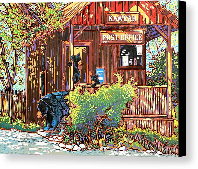 Bear Canvas Print featuring the painting Bear Post by Nadi Spencer