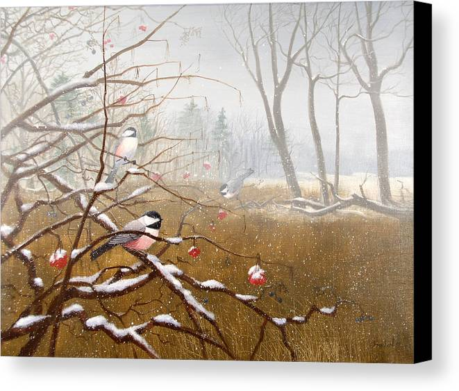 Chickadees Canvas Print featuring the painting Berry Good Friends by Sean Seal