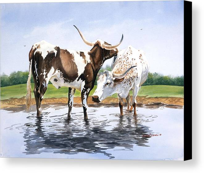 Longhorns Canvas Print featuring the painting Best Friends by Howard Dubois