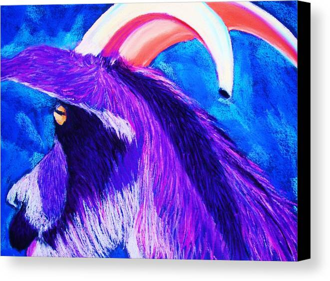 Goat Canvas Print featuring the pastel Billy The Kid by Melinda Etzold