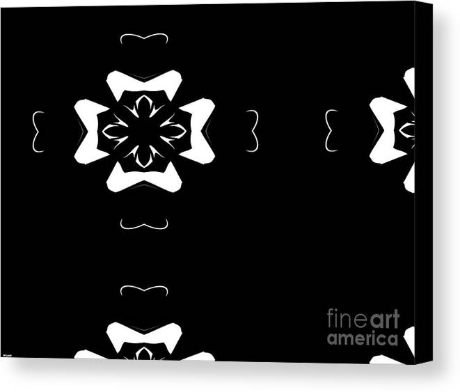 Black Canvas Print featuring the digital art Black And White Flower Abstract by Debra Lynch