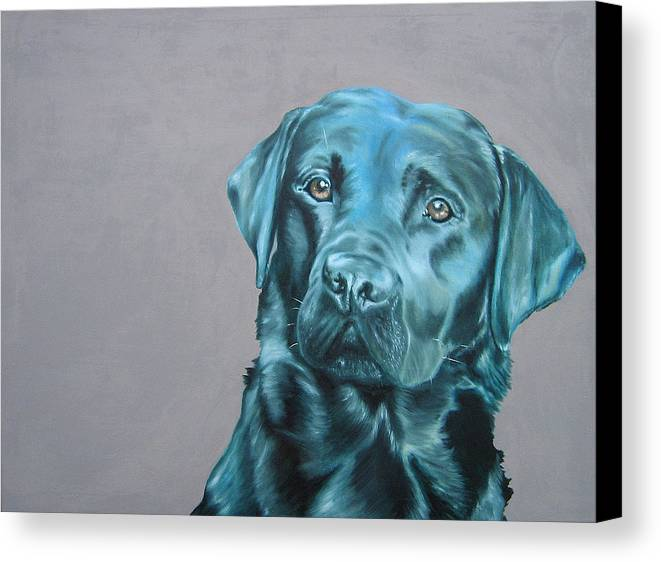 Dog Canvas Print featuring the painting Black Lab by John D Lawson