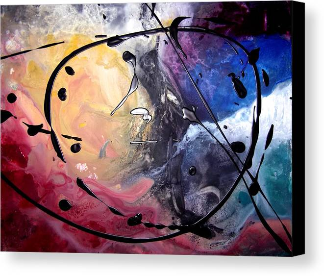 Acrylic Abstract Yupo Yellow Red Black White Turquoise Animal Canvas Print featuring the painting Blackie by Linda Powell