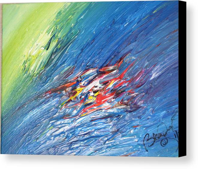 Abstract Canvas Print featuring the painting Bliss - E by Brenda Basham Dothage