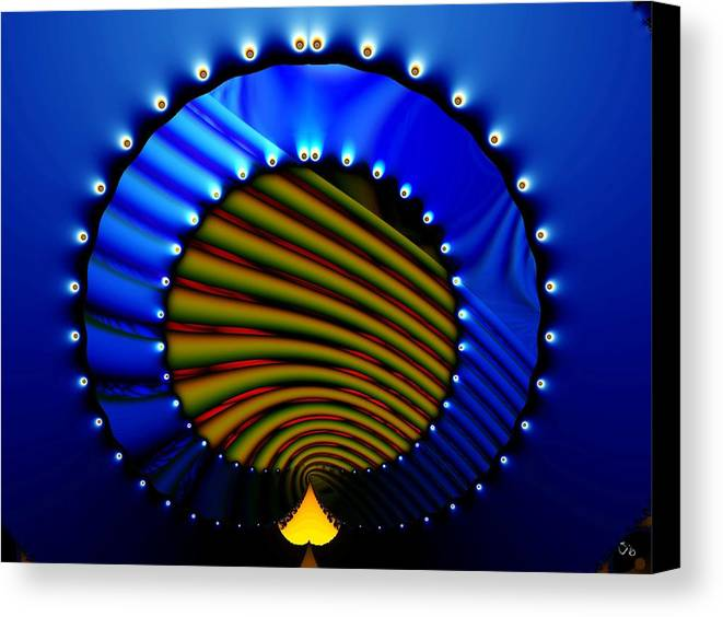 Bale Ringe Canvas Print featuring the digital art Blue Bale Ringe by Ron Bissett