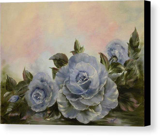 Floral Canvas Print featuring the painting Blue Fantasy by Joni McPherson