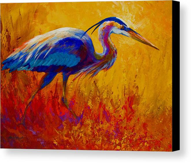 Heron Canvas Print featuring the painting Blue Heron by Marion Rose
