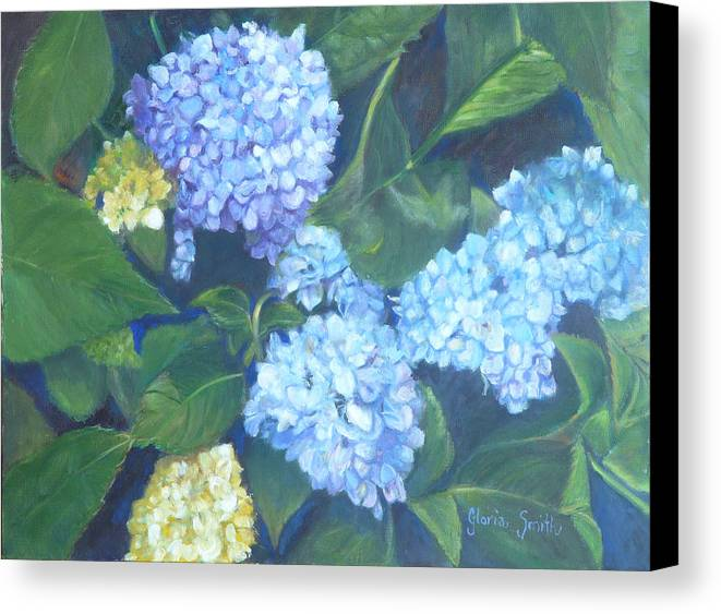 Blue Flowers Canvas Print featuring the painting Blue Hydranges by Gloria Smith