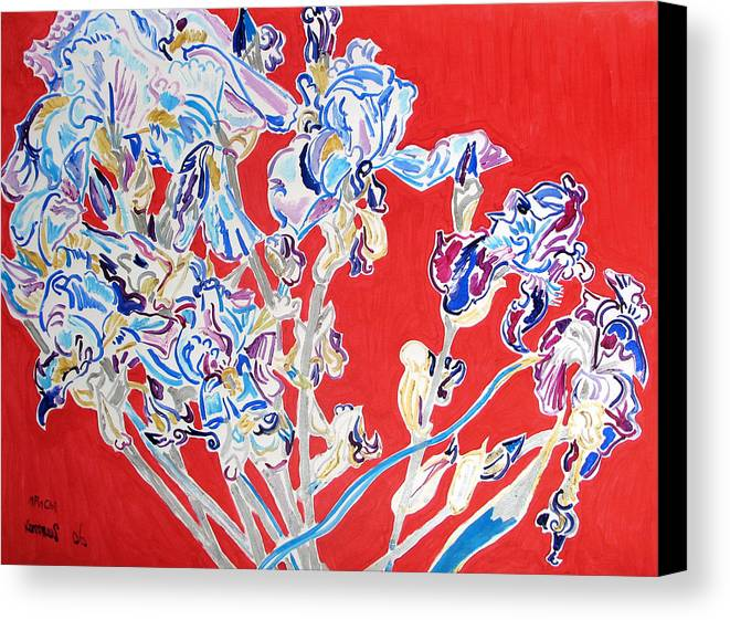 Irises Canvas Print featuring the painting Blue Irises In The Pink Background by Vitali Komarov