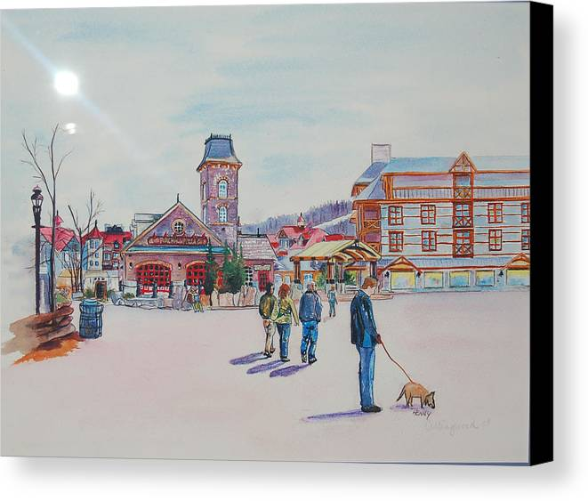 Scenic Canvas Print featuring the painting Blue Mountain Collingwood Ontario by Henny Dagenais