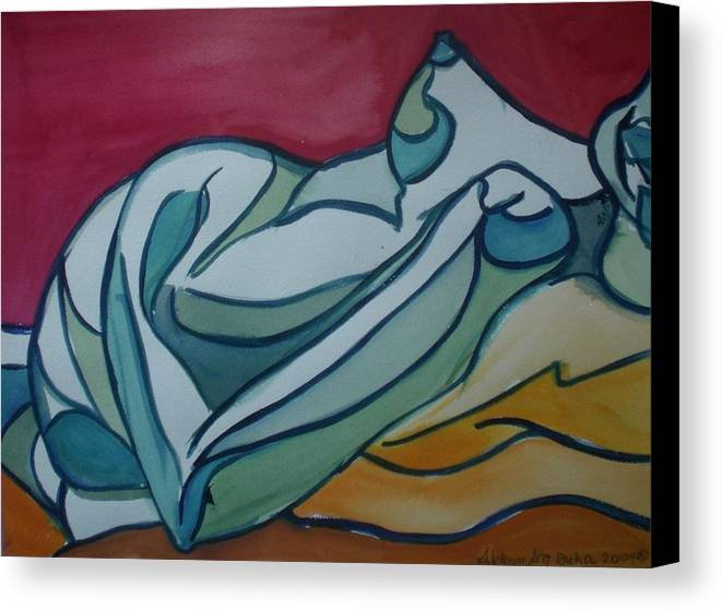 Nude Canvas Print featuring the painting Blue Nude by Aleksandra Buha