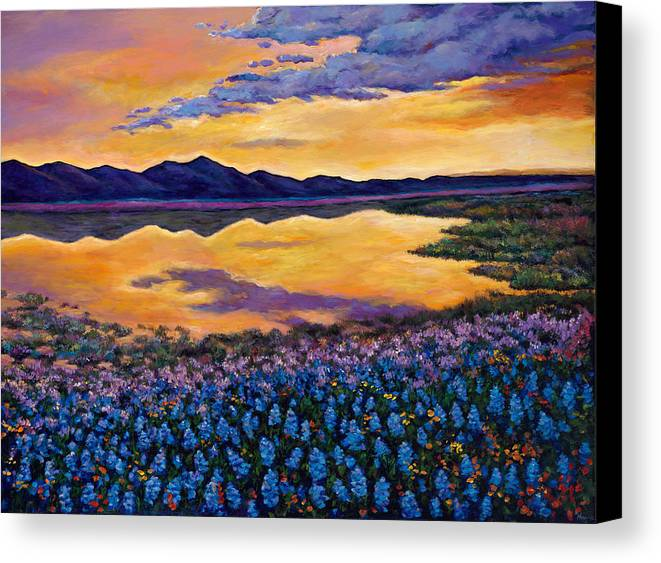 Southwestern Landscape Canvas Print featuring the painting Bluebonnet Rhapsody by Johnathan Harris