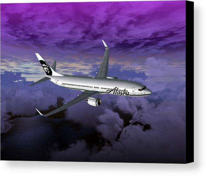 Aviation Canvas Print featuring the digital art Boeing 737 Ng 001 by Mike Ray