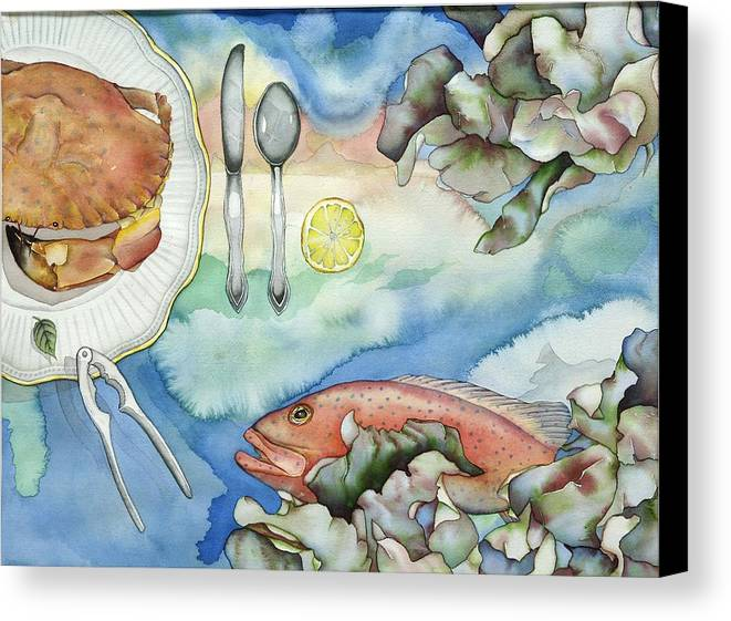 Sea Canvas Print featuring the painting Bon Appetit Together Right Image Diptych by Liduine Bekman