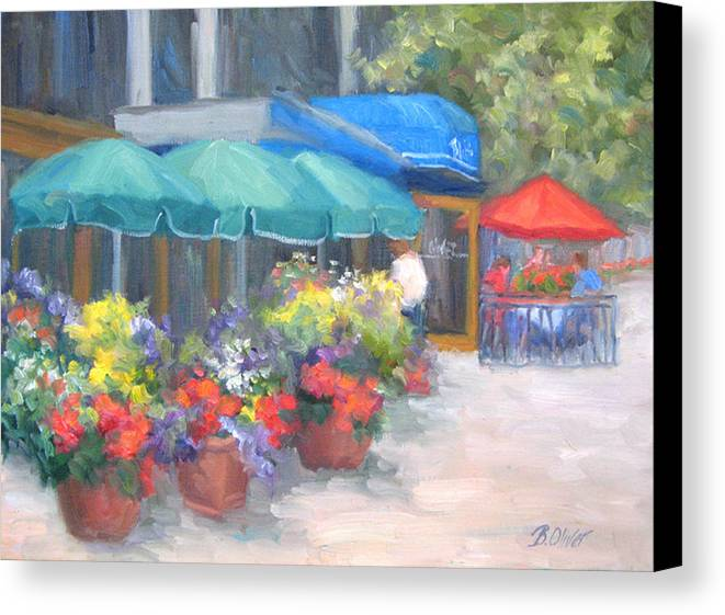 Cafe Canvas Print featuring the painting Breakfast At Blus by Bunny Oliver