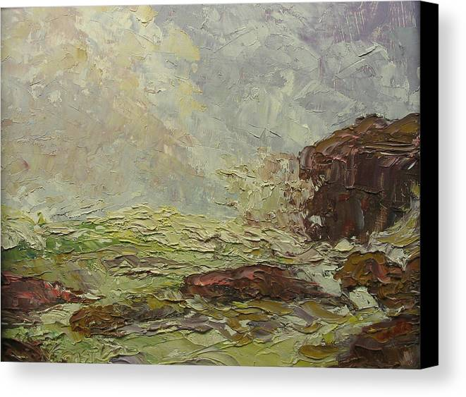 Landscape Canvas Print featuring the painting Breaking On Shore Coast Of Maine Usa by Belinda Consten