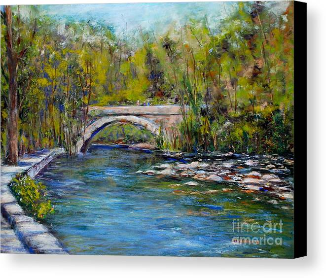 Philadelphia Canvas Print featuring the pastel Bridge Over Wissahickon Creek by Joyce A Guariglia
