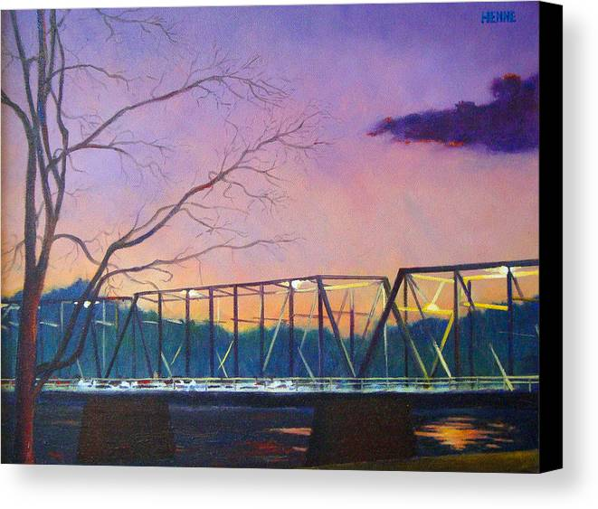 River Canvas Print featuring the painting Bridge Sunset by Robert Henne