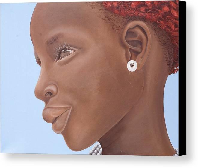 Kaaria Canvas Print featuring the painting Brown Introspection by Kaaria Mucherera