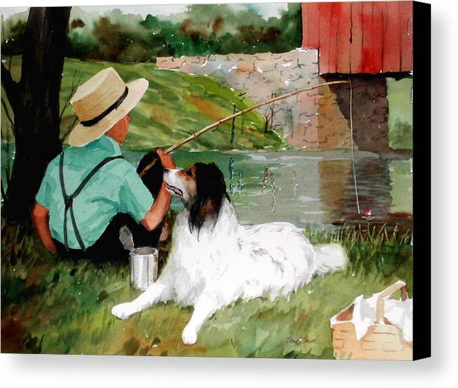 Amish Canvas Print featuring the painting Buddies by Faye Ziegler
