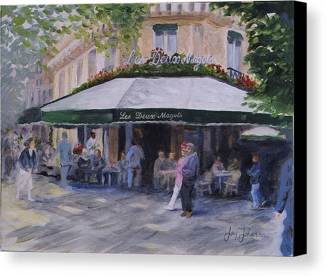 Cafe Magots Canvas Print featuring the painting Cafe Magots by Jay Johnson